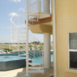 spiral staircase poolside