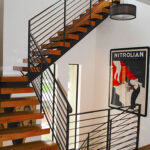 black metal and wood staircase east coast ornamental welding daytona beach